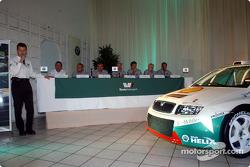Skoda Team launch the new Skoda Fabia WRC: Roman Meliska, Vladimir Sulc, Peter Kohoutek, Pavel Janeba, Didier Auriol, Denis Giraudet, Toni Gardemeister, Paavo Lukander