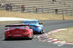 A Prodrive 550 Maranello tails a Racer's Group Porsche 911 GT3RS through T8