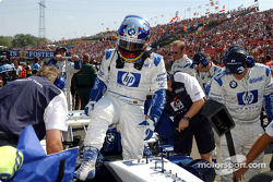 Juan Pablo Montoya on starting grid