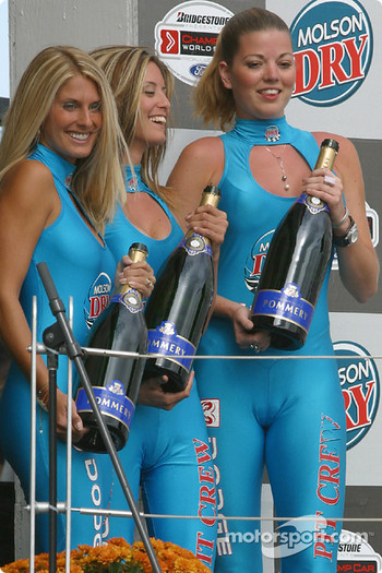 The lovely Molson Dry girls wait on the podium
