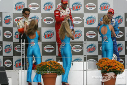 Podium: champagne for Michel Jourdain Jr., Oriol Servia and Patrick Carpentier