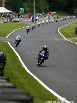 125cc field Slipstreaming down the start finish straight