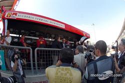 Luca di Montezemolo at Ferrari pitwall