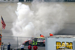 Smoke from Joe Nemechek's car