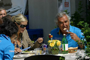 Flavio Briatore and Heidi Klum have lunch