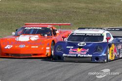 #58 Brumos Racing Porsche Fabcar: David Donohue, Mike Borkowski, and #50 Team Amick Motorsports Corvette: David Amick, Lyndon Amick
