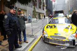 The champion car: Matt Kenseth's DEWALT Ford Taurus outside the Waldorf Astoria hotel