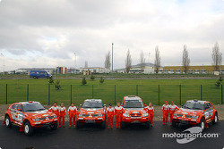 Mitsubishi Motors team: Hiroshi Masuoka and Gilles Picard, Stéphane Peterhansel and Jean-Paul Cottret, Miki Biasion and Tiziano Siviero, Andrea Mayer and Andreas Schulz, with the team
