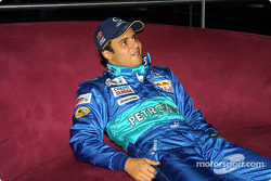 Felipe Massa takes a break between interviews