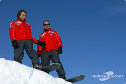 Rubens Barrichello and Luca Badoer on snowboards