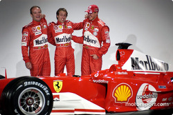 Rubens Barrichello, Luca Badoer and Michael Schumacher with the new Ferrari F2004