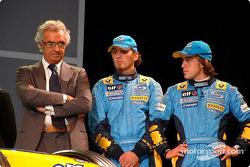 Flavio Briatore, Franck Montagny and Fernando Alonso