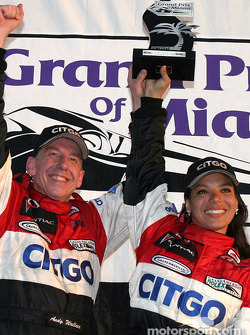 Daytona Prototype podium: winners Andy Wallace and Milka Duno