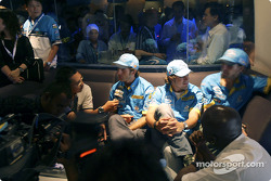 Mild Seven pit party at the Zouk Nightclub in Kuala Lumpur: Jarno Trulli, Fernando Alonso and Franck Montagny