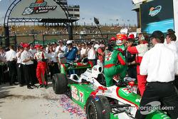 Race winner Tony Kanaan celebrates on victory lane