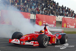 Rubens Barrichello at the Shell V-Power Challenge media event