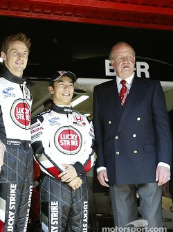Jenson Button, Takuma Sato and King Juan Carlos