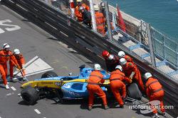 Fernando Alonso's wrecked car