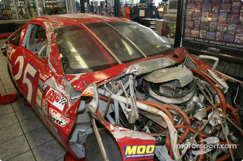 Visit of Hendrick Motorsports: wrecked car of Ken Schrader