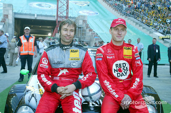DTM vs football event in Berlin: Heinz-Harald Frentzen and Stefan Mücke at football game