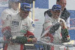 LM P1 podium: champagne for Tom Kristensen and Rinaldo Capello