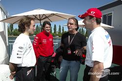 Cristiano da Matta, Ricardo Zonta, Emerson Fittipaldi and Olivier Panis
