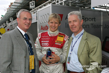 Dr Martin Winterkorn, Chairman of AUDI AG, with Mattias Ekström and Dr Werner Mischke (Lamborghini)