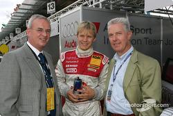 Dr Martin Winterkorn, Chairman of AUDI AG, with Mattias Ekström and Dr Werner Mischke (Lamborghini)