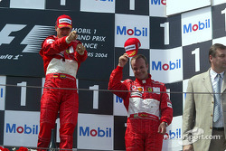 Podium: race winner Michael Schumacher and Rubens Barrichello