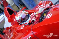 Ferrari test driver Andrea Bertolini prepares