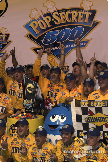 Victory lane: race winner Elliott Sadler celebrates with his crew