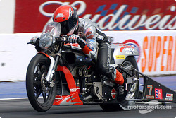 Andrew Hines continued to dominate Pro Stock Bike with a 707 run