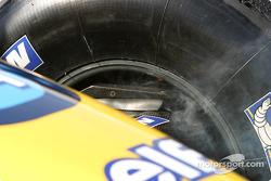 Smoking brakes on Jacques Villeneuve's Renault F1