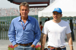 Craig Pollock and Jacques Villeneuve arrive at the track