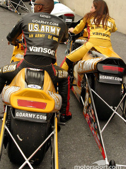 Antron Brown and Angelle Savoie took the top two qualifying positions in Pro Stock Bike