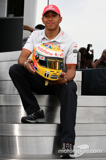 Lewis Hamilton, McLaren Mercedes with his new helmet design