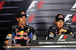 Press conference: pole winner Sebastian Vettel, Red Bull Racing, with second place Mark Webber, Red Bull Racing