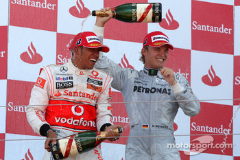 Podium: second place Lewis Hamilton, McLaren Mercedes, third place Nico Rosberg, Mercedes GP