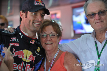 Mark Webber, Red Bull Racing with his mother Diane and father Alan