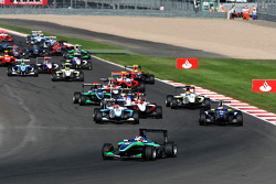 Daniel Morad leads Dean Smith, Mirko Bortolotti, Alexander Rossi and the field at the start of the race
