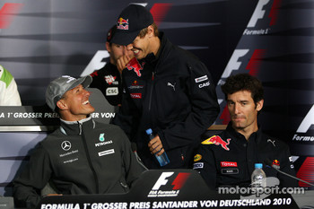FIA press conference: Michael Schumacher, Mercedes GP, Sebastian Vettel, Red Bull Racing, Mark Webber, Red Bull Racing