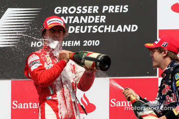 Podium: race winner Fernando Alonso, Scuderia Ferrari, third place Sebastian Vettel, Red Bull Racing