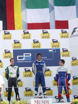 Giacomo Ricci celebrates his victory on the podium with Christian Vietoris and Davide Valsecchi