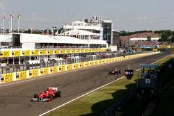 Fernando Alonso, Scuderia Ferrari leads Sebastian Vettel, Red Bull Racing