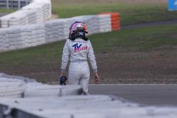 Susie Stoddart, Persson Motorsport, AMG Mercedes C-Klasse retiring aftera crash in the first corner
