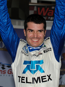 Victory lane: race winner Memo Rojas