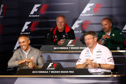 Friday press conference: Martin Whitmarsh, McLaren, Chief Executive Officer, John Booth, Virgin Racing Sporting Director, Ross Brawn Team Principal, Mercedes GP Petronas, Mike Gascoyne, Lotus F1 Team, Chief Technical Officer