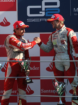 Podium: race winner Sam Bird, second place Jules Bianchi