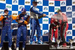 DP podium: Scott Pruett, Jon Fogarty, Alex Gurney, Max Angelelli and Ricky Taylor celebrate with champagne