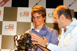 Nico Muller receives his prize for 3rd over all in the championship from Bruno Michel, GP2 / GP3 organiser